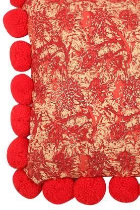 Square Foil Printed Pompom Cushion Cover