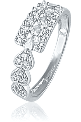 MAHI Mahi Rhodium Plated Three Hearts Ring With CZ Stones For Women FR1100448R