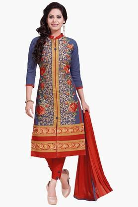 ISHIN Womens Embroidered Unstitched Dress Material - 201832741
