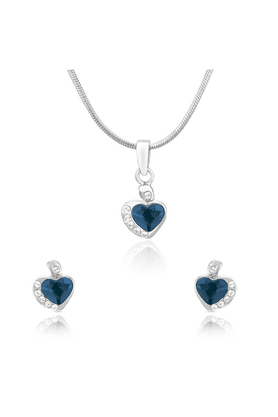 MAHI Mahi Rhodium Plated Blue And White Heart Pendant Set Made With Swarovski Elements For Women NL1104116RBlu