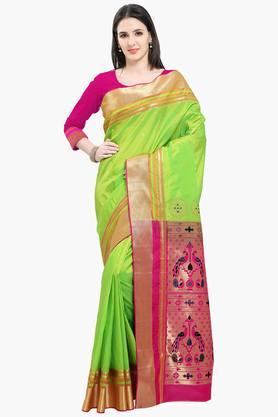 Women Bhagalpuri Art Silk Pethni Border Heavy Richpallu Saree