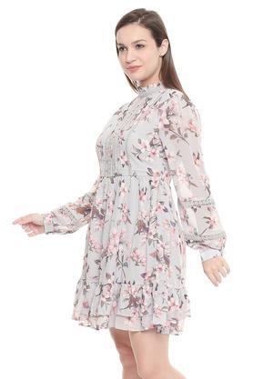Womens Ruffled Collar Floral Print Short Dress