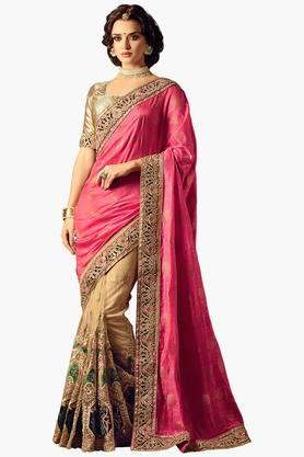 ISHIN Women Net With Silk Butti Pallu & Embroidered Saree With Brocade Blouse