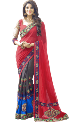 DEMARCA Womens Georgette Saree (Buy Any Demarca Product & Get A Pair Of Matching Earrings Free)