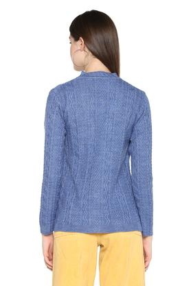 Womens V Neck Slub Knitted Cardigan