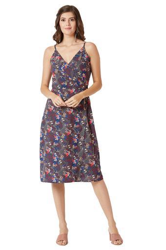 Womens V Neck Printed Wrap Dress