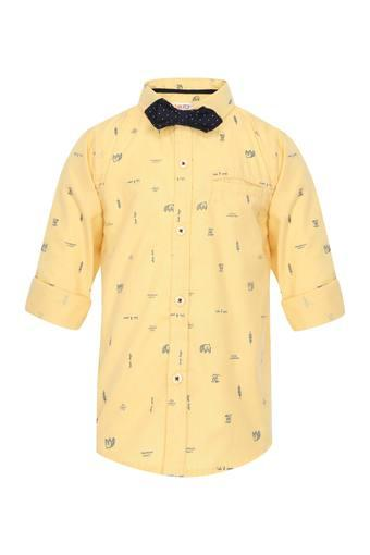 Boys Printed Casual Shirt with Bow Tie