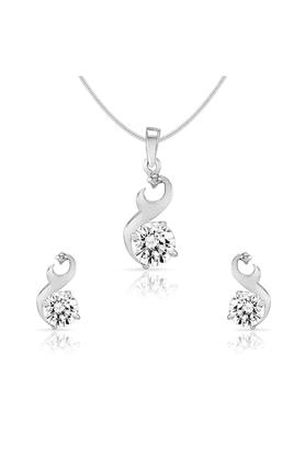 MAHIMahi Rhodium Plated Glam Star Pendant Set Of Brass Alloy Made With Swarovski Zirconia For Women NL1105023R