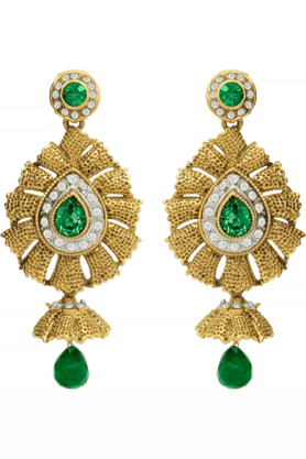 DONNA Traditional Ethnic Green Flame Dangler Earrings With Crystal For Women By Donna ER30012G