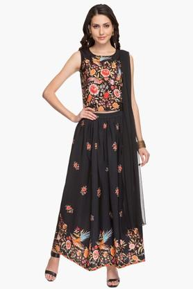 Womens Printed Top Skirt Dupatta Set