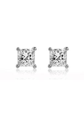 MAHI92.5 Sterling Silver White Mini Princess Stud Earrings Made With Swarovski Zirconia By Mahi ER3102001Whi
