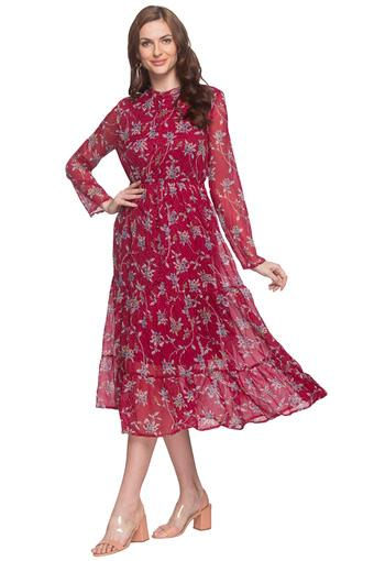 Womens Band Collar Floral Print Drop Waist Dress