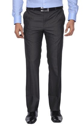 VAN HEUSENMens Flat Front Slim Fit Solid Formal Trousers