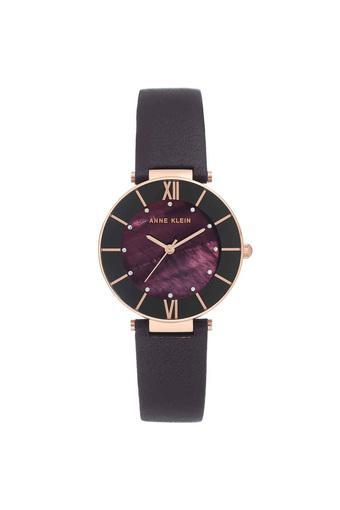 Womens Plum Purple Dial Leather Analogue Watch - AK3272RGPL
