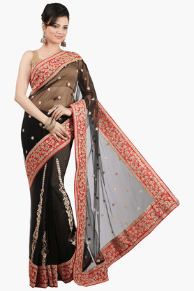 JASHN Womens Embroidered Saree With Blouse Piece - 201313057