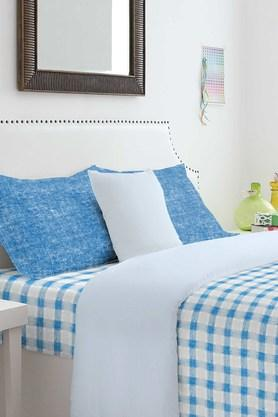 SPACES Cotton Check Double Bedsheet With Pillow Cover
