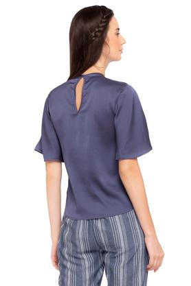 Womens Band Collar Solid Top