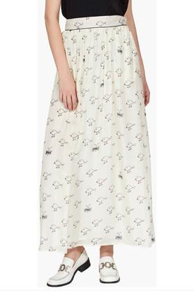 LABEL RITU KUMAR Womens Flared Printed Long Skirt