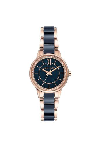 Womens Navy Blue Dial Stainless Steel Analogue Watch - AK3344NVRG
