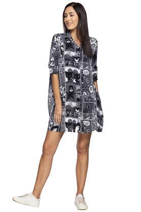 Womens Mandarin Collar Printed Shirt Dress