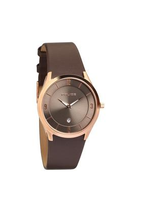 Mens Brown Dial Leather Analogue Watch - PL14217JSR13