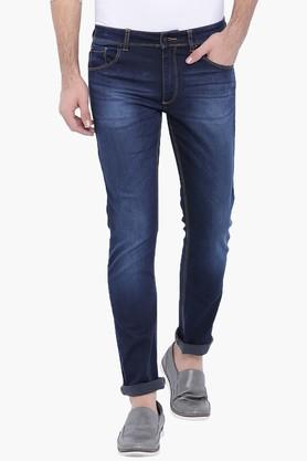 BLUE SAINT Mens Navy Washed Slim Fit Jeans