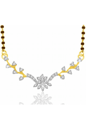 SPARKLES Gold Mangalsutra With Diamond Pendant Set N9249