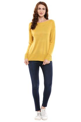 Womens Boat Neck Knitted Sweater