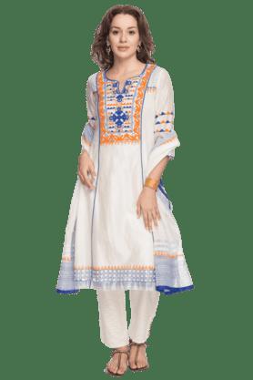 BIBAWomen V- Neck Long Churidar Suit