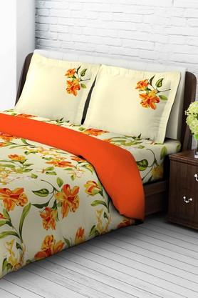 TANGERINE Cotton Floral King XL Bedsheet And Pillow Set