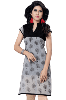 DEMARCA Womens Printed Kurta (Buy Any Demarca Product & Get A Pair Of Matching Earrings Free) - 200936896