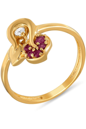 MAHIMahi Gold Plated Queenly Ring With Ruby And CZ Stones For Women FR1100307G