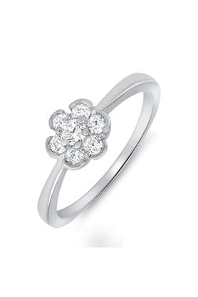 MAHIMahi Rhodium Plated Serene Charm Ring With CZ Stones For Women FR1100075R