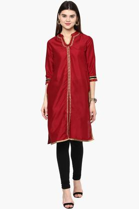 RANGRITI Womens Mandarin Neck Embroidered Solid Kurta (Plus Size) - 201504922