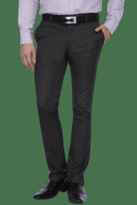 VDOTMens Flat Front Slim Fit Solid Formal Trouser