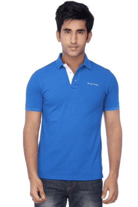 Mens Short Sleeves Slim Fit Polo Neck Solid T Shirt
