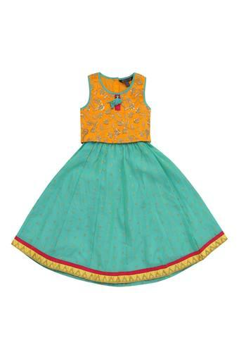 Girls Round Neck Assorted Ghaghra Choli Dupatta Set