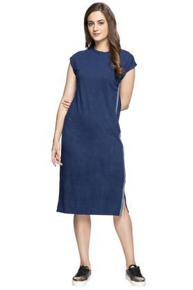 Womens Round Neck Slub Midi Dress