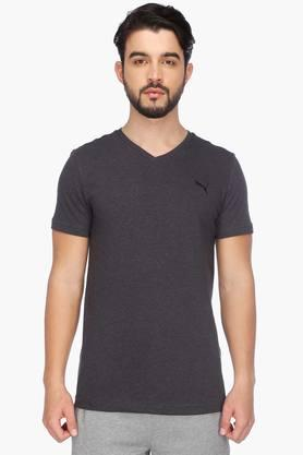 PUMA Mens Short Sleeves Round Neck Solid T-Shirt