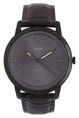 Mens Grey Dial Leather Analogue Watch - FS5573I