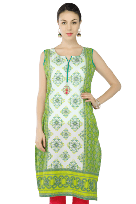 STOP Women Cotton Printed Sleeveless Kurta