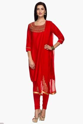 IMARA Womens Embroidered Churidar Suit - 201430640