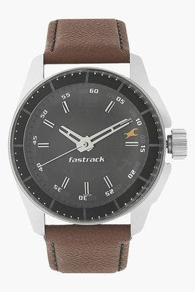 FASTRACKMens Black Dial Leather Strap Watch - 201081210