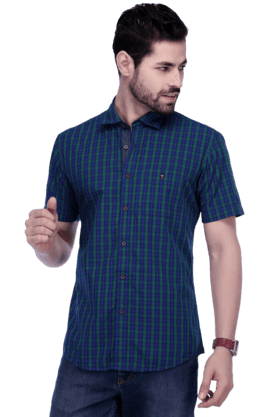 Louis Philippe Jeans Formal Shirts (Men's) - Mens Short Sleeves Slim Fit Casual Check Shirt