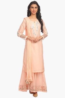 Womens Cotton Silk Straight Fit Suit Set - 202179638
