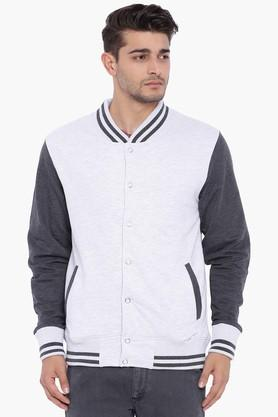BLUE SAINTMens Grey &Pirate Black Colored Solid Sweatshirt