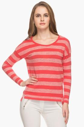 EXCLUSIVE LINES FROM BRANDS Womens Round Neck Stripe Pullover