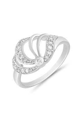 MAHI Mahi Rhodium Plated Royal Finger Ring With CZ For Women FR1100658R