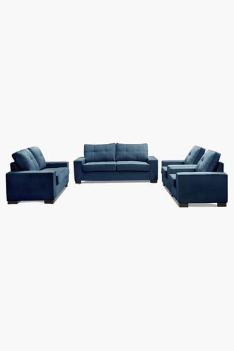 Zafree Blue Fabric Sofa (3-2-1-1 Sofa Set)