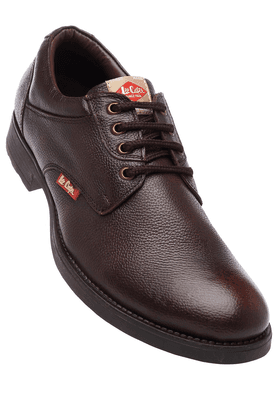 LEE COOPER Mens Brown Leather Lace Up Casual Shoe
